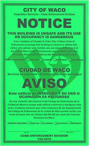 City of Waco Green Tag